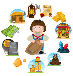 set of on the theme of goldfield wild west vector image