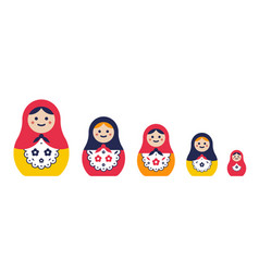 Set of traditional nesting doll simple colorful vector