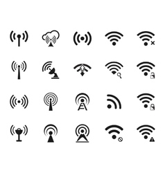 set wi-fi and wireless icons vector image