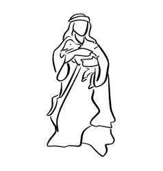 shepherd holding a sheep in nativity scene vector image