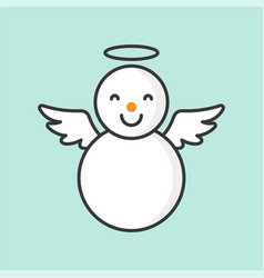 Snowman with angel ring and wings filled outline vector