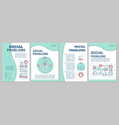 Social problems brochure template layout vector