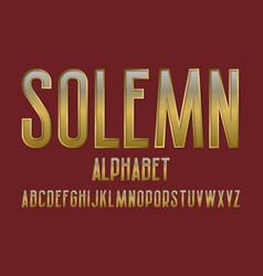 Solemn alphabet golden font isolated english vector