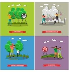 Sport shooting posters Biathlon gun shoot vector