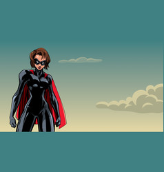 superheroine battle mode sky vector image