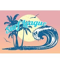 Surfing poster with wave and palm trees vector