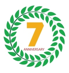 Template Logo 7 Anniversary in Laurel Wreath vector