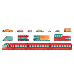 urban transport set with subway tram cars and vector image