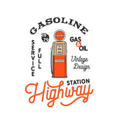 Vintage gas station pump badge retro hand drawn vector