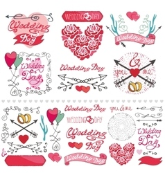 Wedding decor elements setLabelscardinvitation vector image