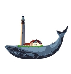 whale and lighthouse vector image