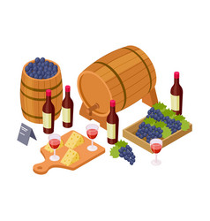 wine tasting concept isometric wine wooden vector image