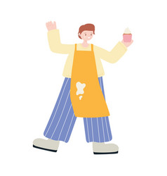 young man with cupcake and apron character icon vector image