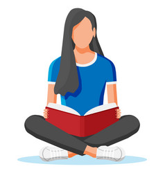 Young woman sitting cross-legged and read book vector