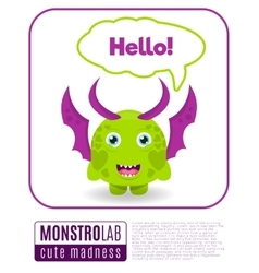 a monster saying hello vector image vector image