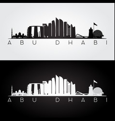 abu dhabi skyline and landmarks silhouette vector image