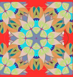 decorative indian round mandala on neutral orange vector image vector image