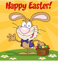 Easter Bunny Carrying A Basket Of Eggs vector image vector image