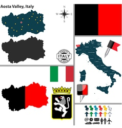 Map of Aosta Valley vector image vector image
