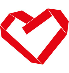 Paper strip folded as heart sign vector
