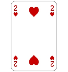 Poker playing card 2 heart vector image