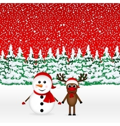 Snowman with reindeer and standing in the forest vector image vector image