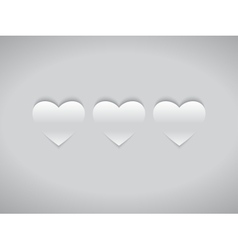 Three White Hearts vector image