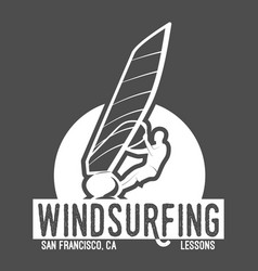 windsurfing badge and logo vector image vector image
