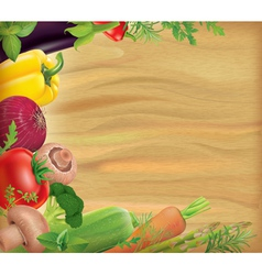 Wooden board with vegetables vector image vector image