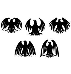 Black heraldic eagles vector image vector image