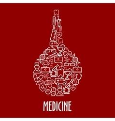 Medical icons arrange in a shape of enema vector image
