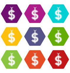 Necklace of dollar symbol icon set color vector