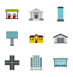 urban infrastructure icons set flat style vector image
