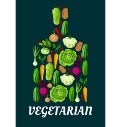 Vegetarian symbol with fresh vegetables vector image