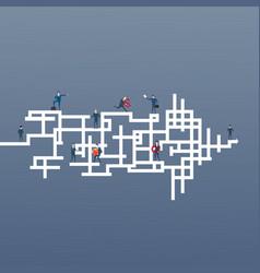 business people group run team on arrow leadership vector image