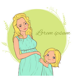 card with beautiful blond pregnant woman with a vector image