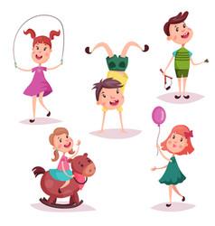 cartoon girl and boy baby and preschool kids vector image