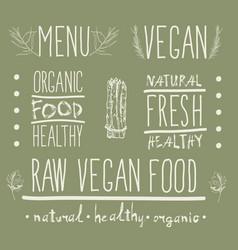 raw vegan food calligraphy vector image