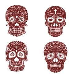 Set of sugar skulls isolated on white background vector image