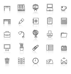 workspace line icons with reflect on white vector image vector image