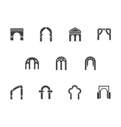 Architecture element black monochrome icons vector image