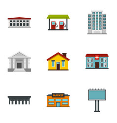 city elements icons set flat style vector image