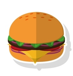 Isolated hamburger food design vector image