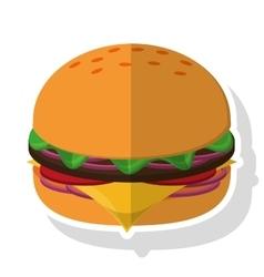 Isolated hamburger food design vector image