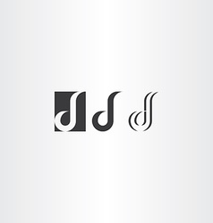 letter d black logo icon set vector image vector image