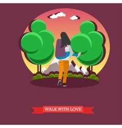 Man carry his girlfriend on back Romantic happy vector image vector image