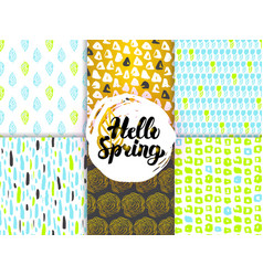 spring nature funky seamless patterns vector image vector image
