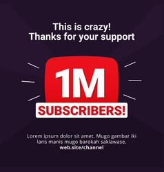 1m subscribers celebration background design 1 vector