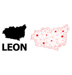 2d polygonal map leon province with red stars vector