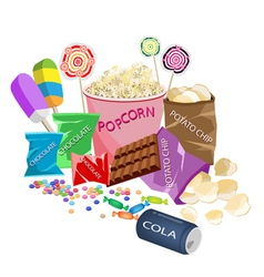 A Collection of Various Cinema Foods vector